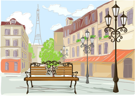 line drawing: line drawing illustration of Paris. vector illustration