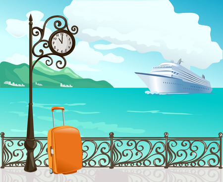seafront: marine boulevard with a clock and a ship. vector illustration