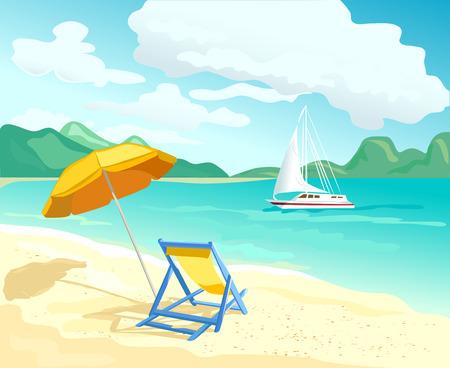 Strand mit Liegestühlen und Sonnenschirmen. Vektor-Illustration Illustration
