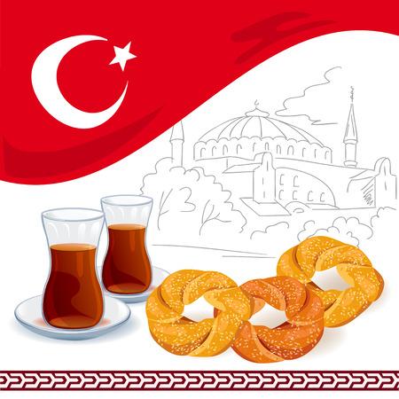 turkish: illustration with Turkish elements. vector illustration