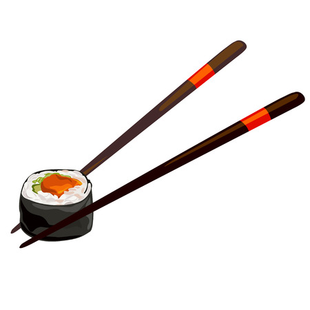 Japanese roll with chopsticks. isolated, vector illustration
