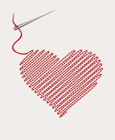 bordados: corazón bordado con un hilo de la aguja. ilustración vectorial