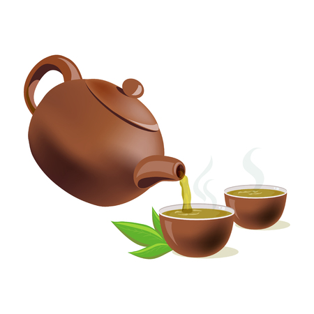 chinese teapot: pouring green tea in cups. vector illustration