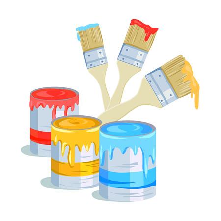 Bürsten und Farbdosen. Vektor-Illustration Illustration