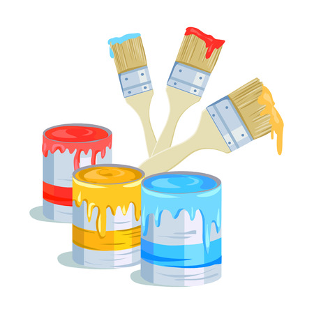 paint container: brushes and paint cans. vector illustration