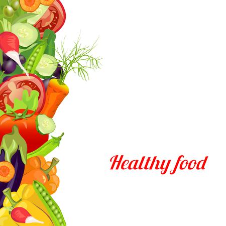 gesundes Essen. Gemüse. Banner von verschiedenen Gemüse. Vektor-Illustration Illustration