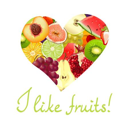 Ich mag Früchte. Herz von verschiedenen Früchten. Vektor-Illustration