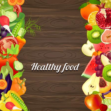 healthy food. vegetables and fruits. wooden background. vector illustration Çizim