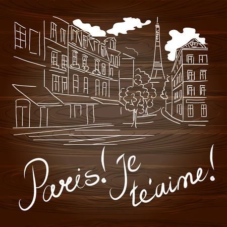 Paris Hand Abbildung auf dem hölzernen Hintergrund gezeichnet. Vektor-Illustration
