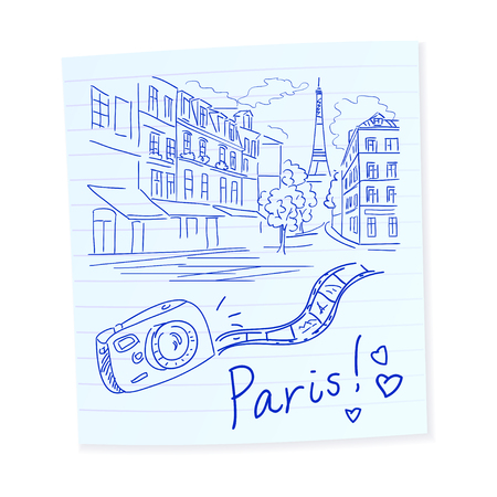 Skizze Hand gezeichnet Reise Paris. Vektor-Illustration