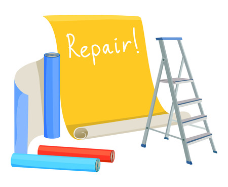 home renovation: home renovation, ladder, rolls of wallpaper.vector illustration
