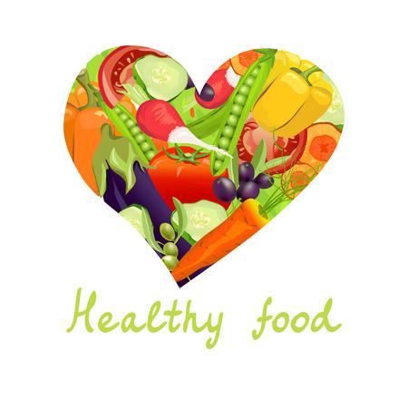 Gesundes Essen. Herz des Gemüses. Vektor-Illustration Illustration