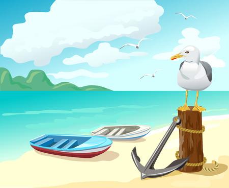 Möwe und Boote am Strand. Vektor-Illustration