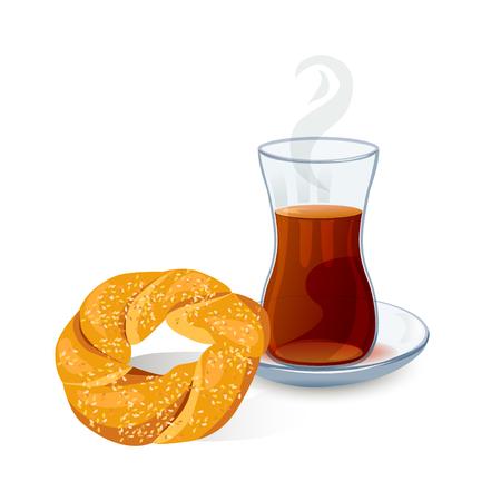 Traditional Turkish tea with bun with sesame seeds. vector illustration