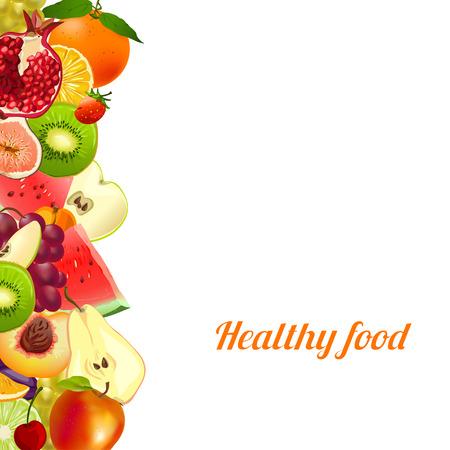 gesundes Essen. Früchte. Banner von verschiedenen Früchten. Vektor-Illustration
