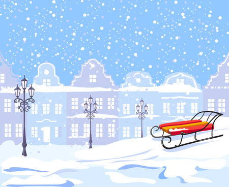european: Vintage winter city and sled. vector illustration
