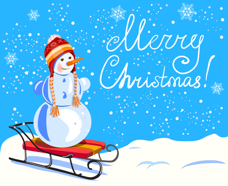 Christmas. Snowman on a sled. hand drawn lettering. vector illustration