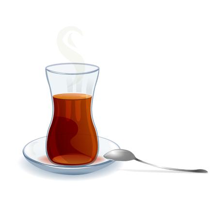 taza de té: té turco tradicional con una cuchara. ilustración vectorial Vectores