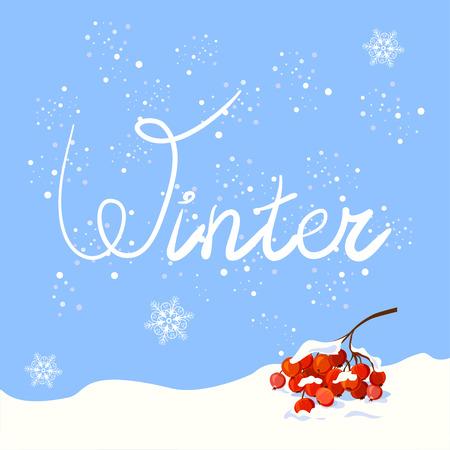 Winter. Hand gezeichnet Schriftzug. Illustration eines Rowan Zweig