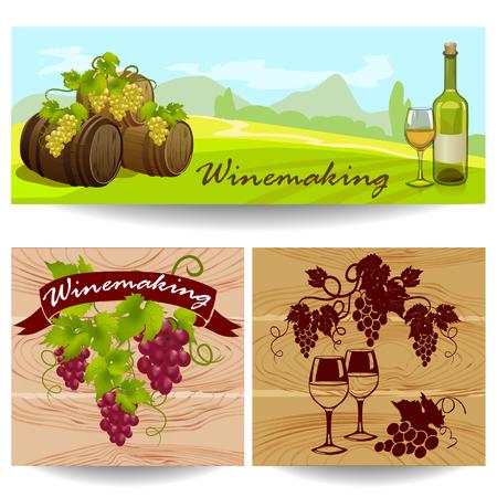 Banner mit winemaking.vector Illustration
