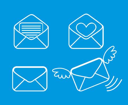 Strichzeichnung Briefumschläge Nachricht. Vektor-Illustration Illustration