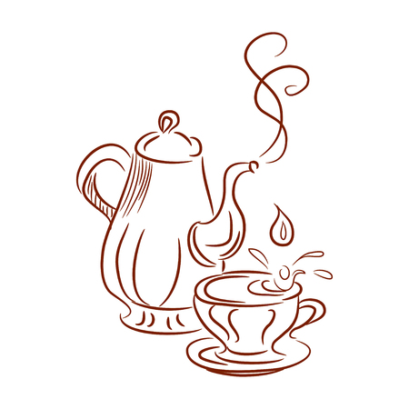 kettles: esbozo de calderas y taza. ilustración vectorial Vectores