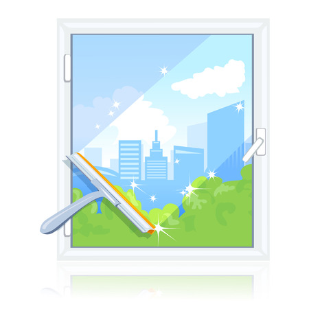squeegee: cleaning dirty window. vector illustration