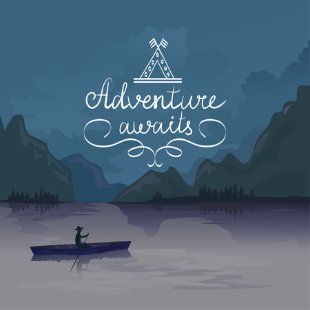 kayak in a mountain lake. adventure awaits. logo. vector illustration