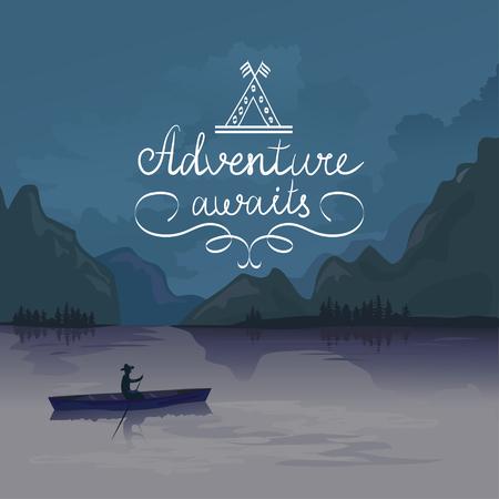 lodge: kayak in a mountain lake. adventure awaits. logo. vector illustration
