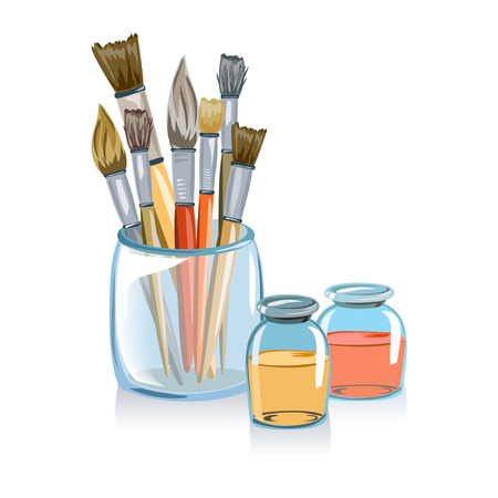 Satz von Bürsten für die Malerei isoliert. Vektor-Illustration Illustration