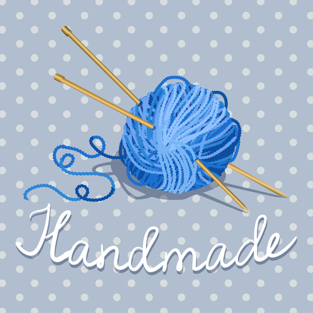 ball of yarn and knitting needles on a vintage background with polka dots. vector illustration
