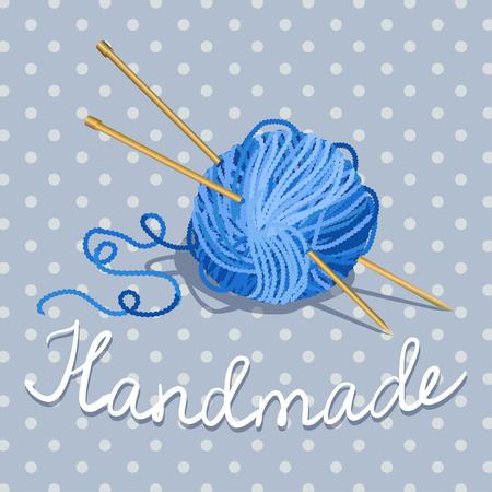 boule de fil et des aiguilles à tricoter sur un fond vintage avec des points de polka. illustration vectorielle