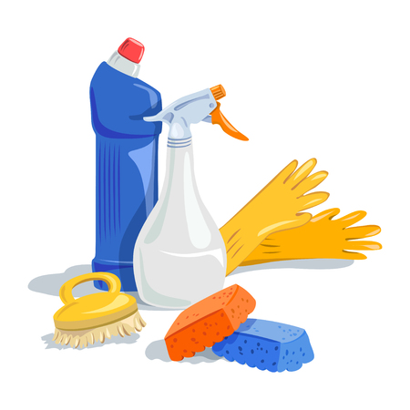 Domestic cleaning: house cleaning, cleaning products. Illustration