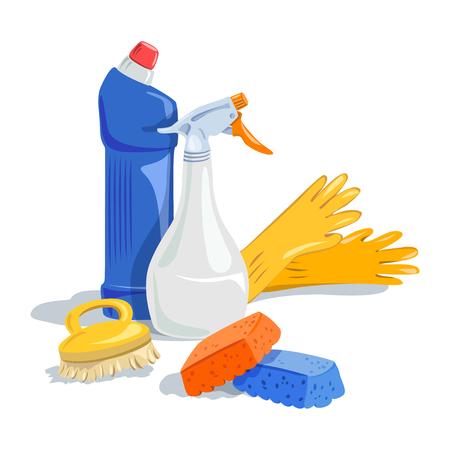 limpieza  del hogar: limpieza de la casa, productos de limpieza. Vectores