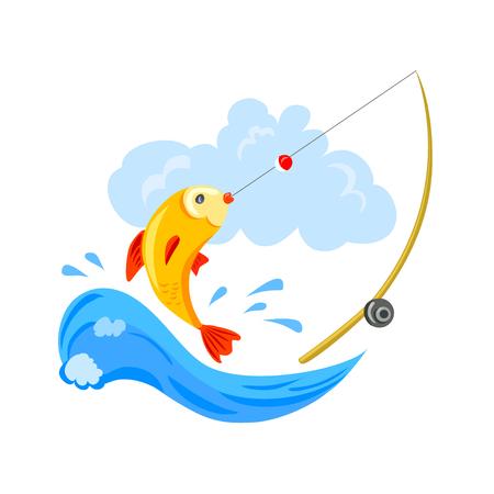 Logo für die Fischerei, die Fische und die Angelrute. Vektor-Illustration