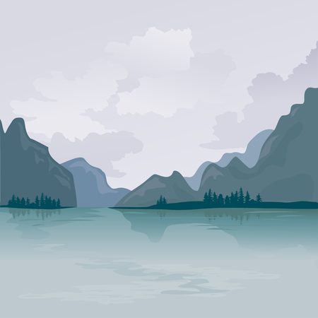 panoramic nature: Lake in the mountains, reflection. vector illustration
