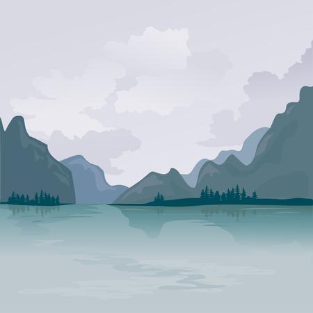 See in den Bergen, Reflexion. Vektor-Illustration Illustration
