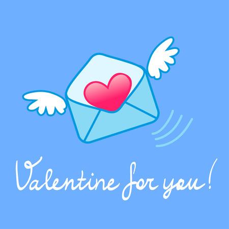 Valentine Umschlag mit Flügeln, Hand Schriftzug. Vektor-Illustration