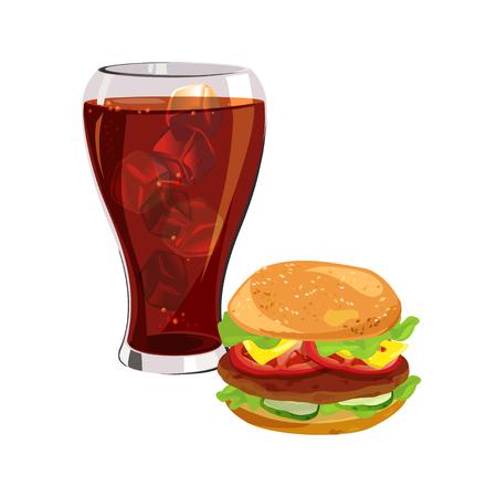 Fast Food, Hamburger, Cola mit Eis. Vektor-Illustration