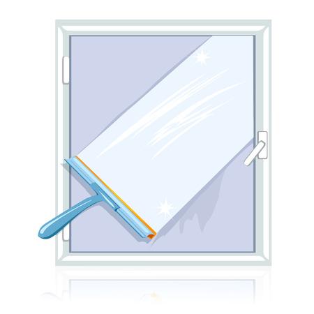 schmutzige Fensterreinigung isoliert. Vektor-Illustration Illustration