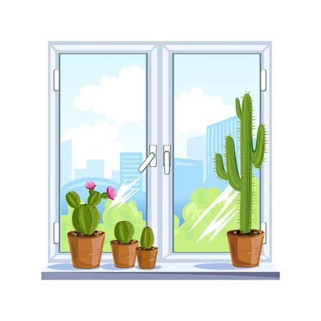 Fenster und Blumen auf der Fensterbank in Töpfen. Vektor-Illustration
