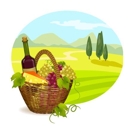 ländliche Landschaft der Toskana mit einem Korb voller Trauben. Vektor-Illustration