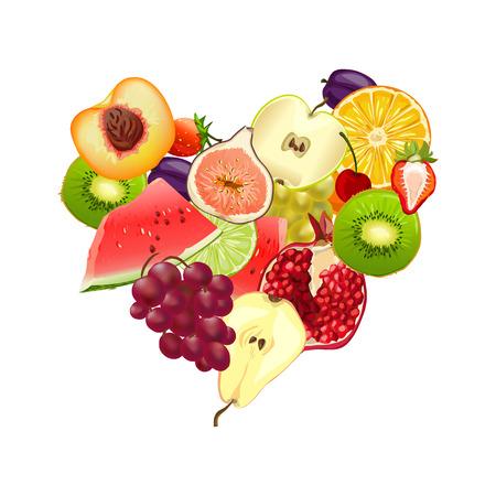 fruchtig Herz. Mix aus verschiedenen Früchten. Vektor-Illustration