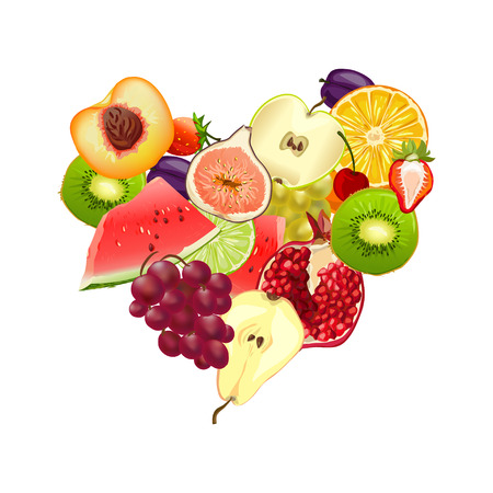 fruity: fruity heart. mix of different fruits. vector illustration Illustration