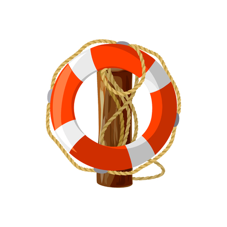 dangling: lifebuoy with ropes on a wooden post. isolated. vector illustration