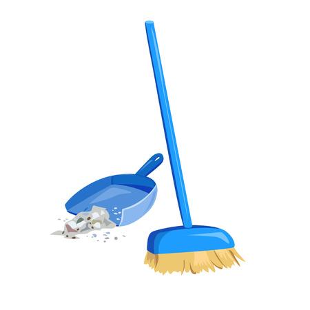 la limpieza de la basura, escoba y recogedor. ilustración vectorial