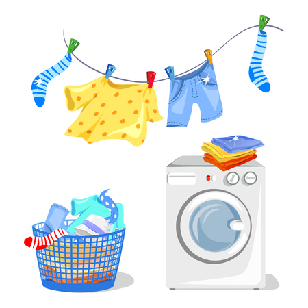 washing clothes, washing machine. vector illustration Çizim