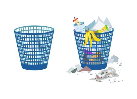 basura organica: dos contenedores, llenos y vacíos. ilustración vectorial