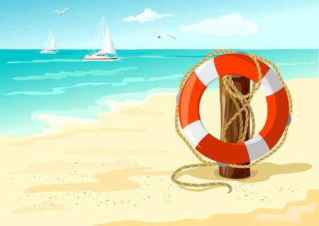 Rettungsring am Strand. Marine Hintergrund. Vektor-Illustration