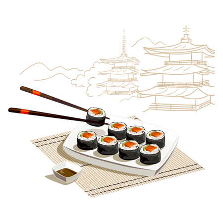 Japanese rolls. Sketch of Japanese architecture. vector illustration Illustration
